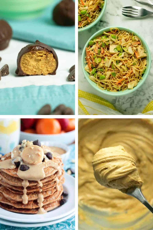 vertical image collage of vegan peanut butter recipes: energy bites, noodles, pancakes, frosting