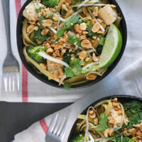 overhead photo of tofu noodles with broccoli, peanuts, and bean sprouts