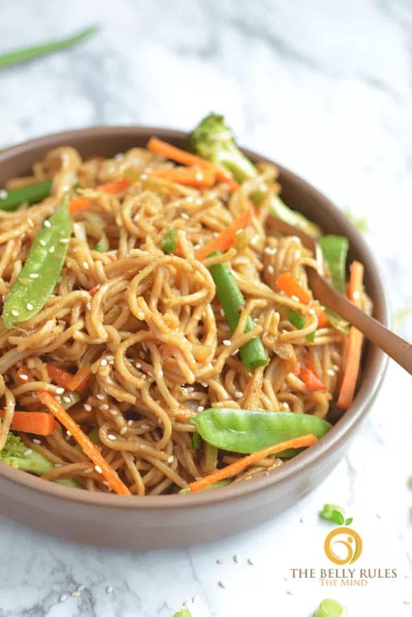 brown bowl of vegetable chow mein