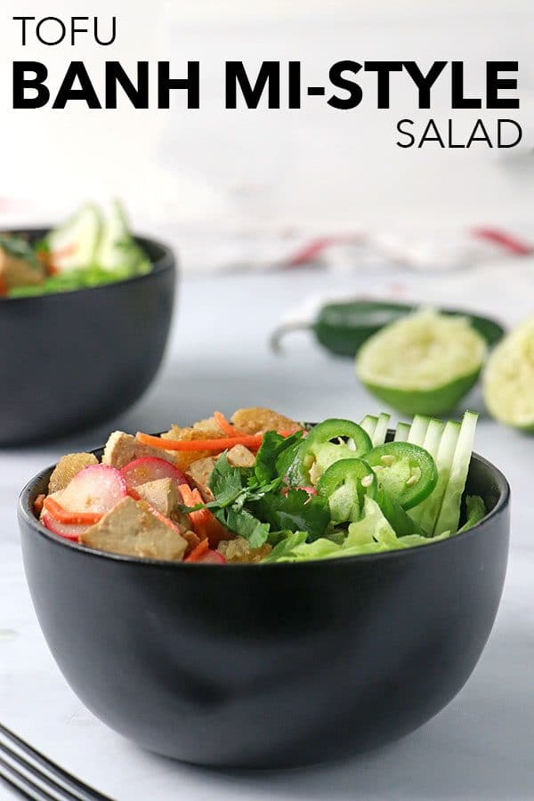 bowl of banh mi salad with a text overlay