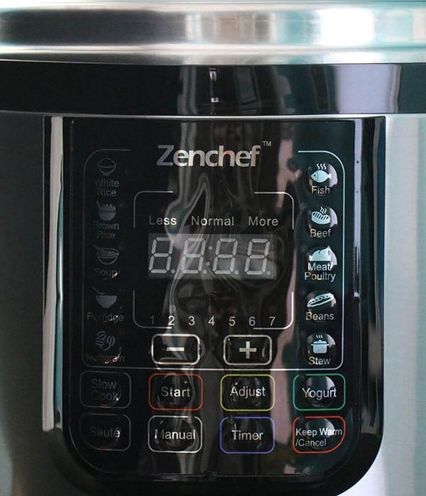 close-up of pressure cooker front panel