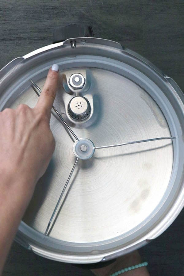 pointing to the sealing ring on the inside of the pressure cooker's lid