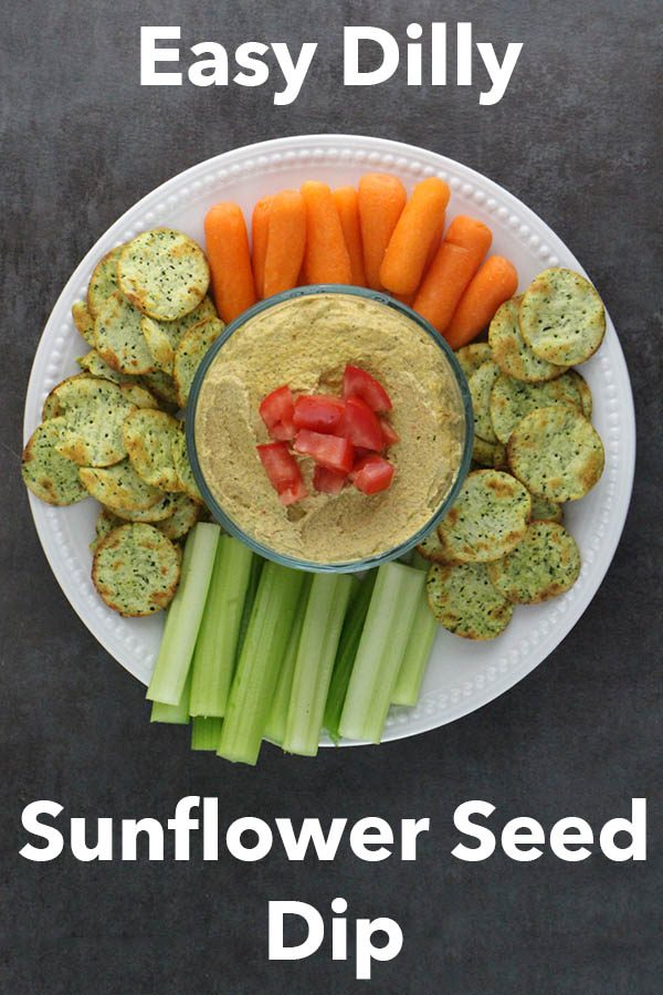 overhead photo of sunflower pate on a serving platter with a text overlay