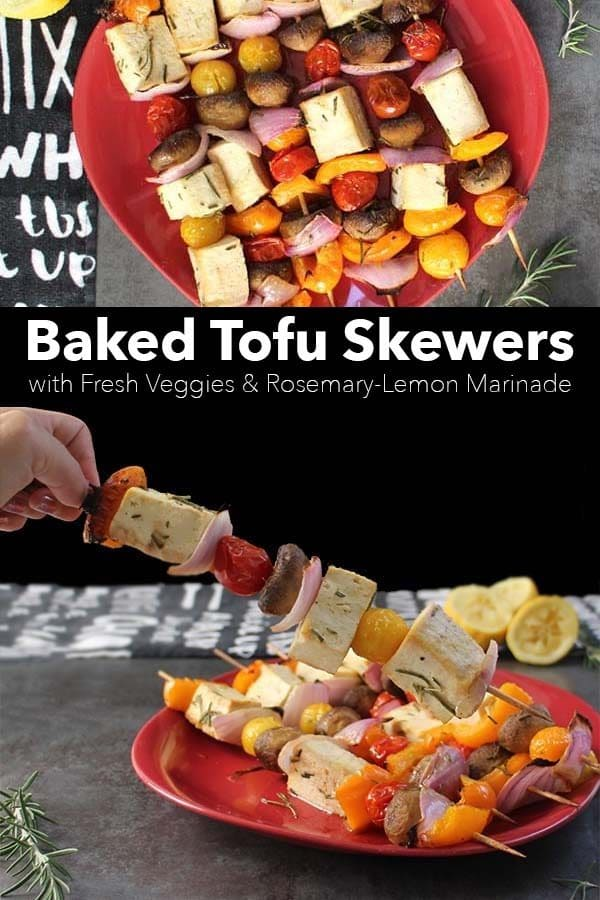image collage of baked tofu skewers on a serving tray with a text overlay