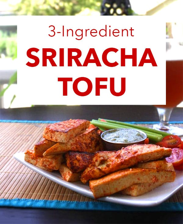 sriracha tofu on a plate with a beer in the background