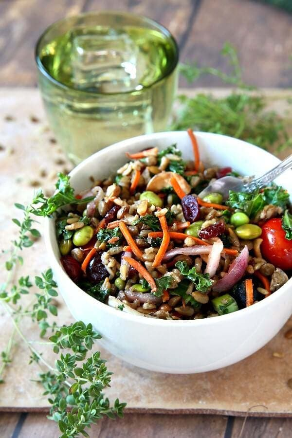 bowl of superfood salad from Vegan in the Freezer