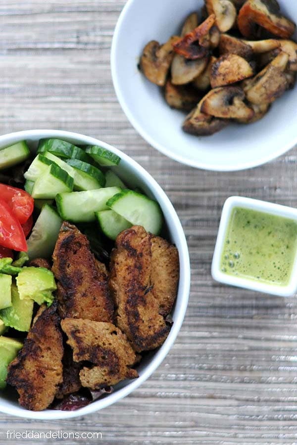 bowls of vegan steak salad from Fried Dandelions