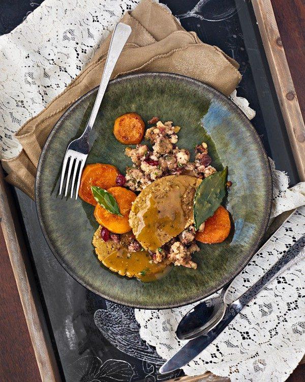 vegan thanksgiving dinner for two on a blue plate