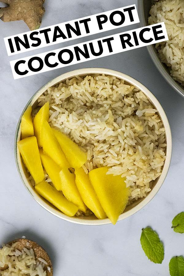 overhead photo of coconut rice in a bowl with mango