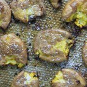 A close up of salt and vinegar potatoes