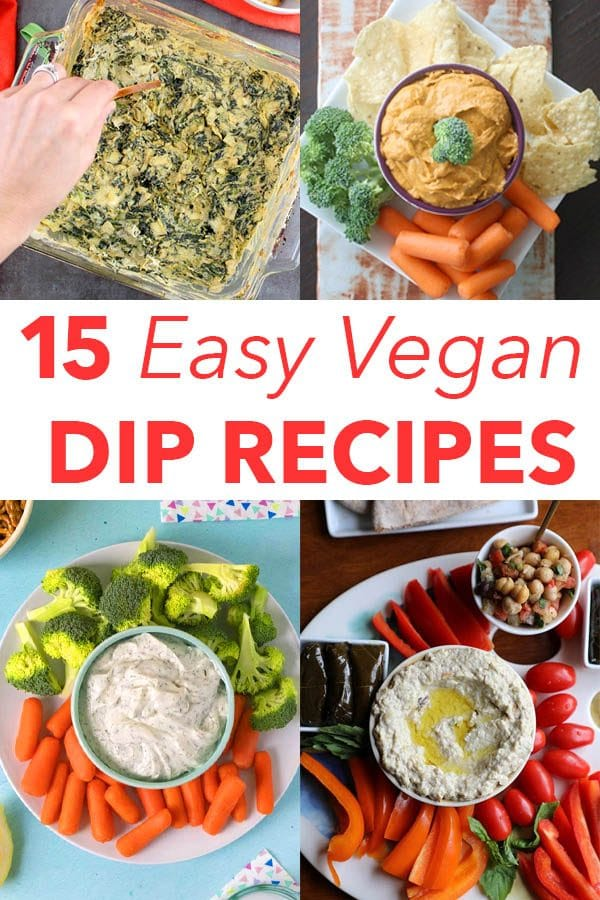 image collage of easy vegan dip recipes: spinach artichoke dip, vegan queso, vegan sour cream dip, baba ganoush