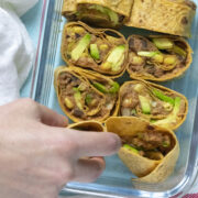 vegan pinwheels in a meal prep container
