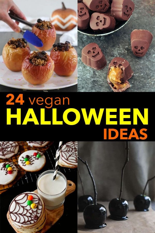 image collage of vegan halloween ideas: baked apples, skull chocolates, cookies, candy apples