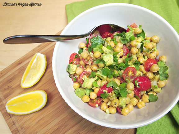 bowl of avocado chickpea salad from Dianne's Vegan Kitchen