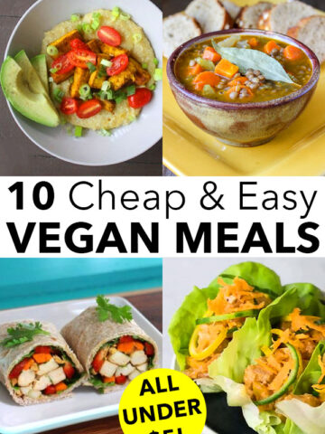 image collage of easy vegan meals: grit bowl, soup, tofu wrap, lettuce wraps