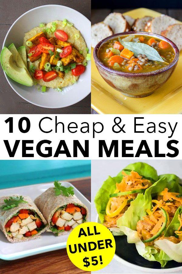 image collage of easy vegan meals: grit bowl, soup, tofu wrap, lettuce wraps