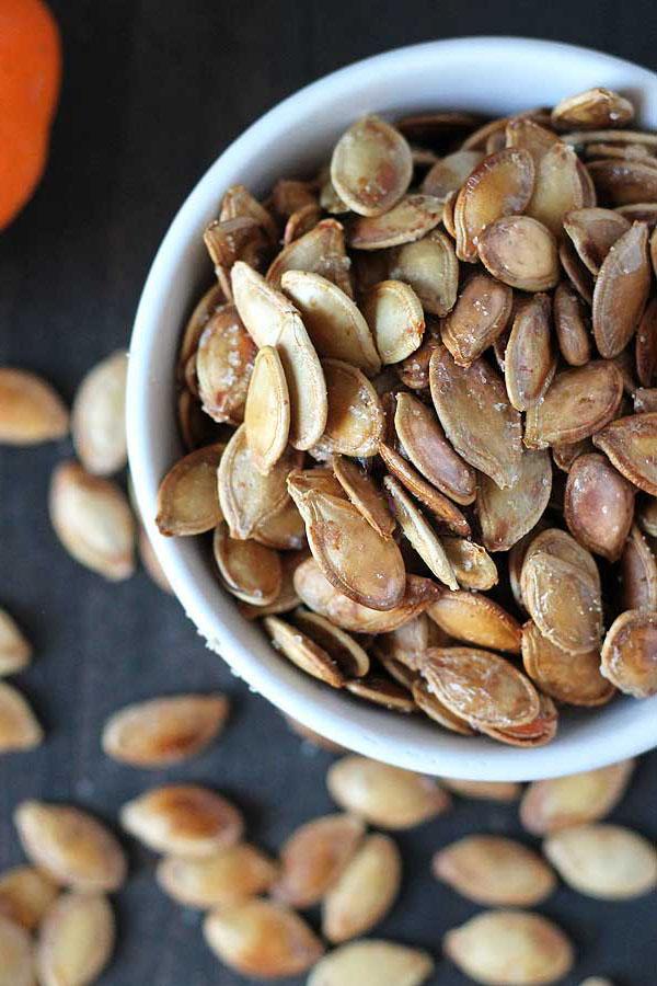 overhead photo of a bowl of pumpkin seeds