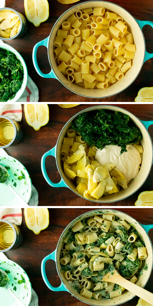 image collage of making the pasta, adding the veggies and sauce, and the pot stirred up
