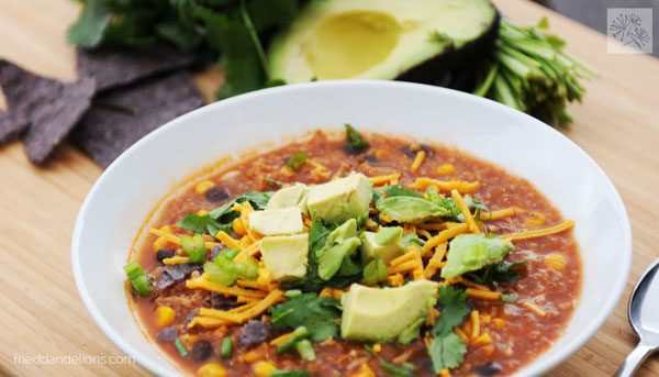 bowl of taco soup from Fried Dandelions