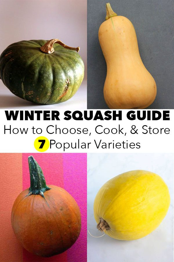 """image collage of different types of winter squash with a text overlay that reads, """"Winter Squash Guide: How to Choose, Cook, & Store 7 Popular Varieties"""""""