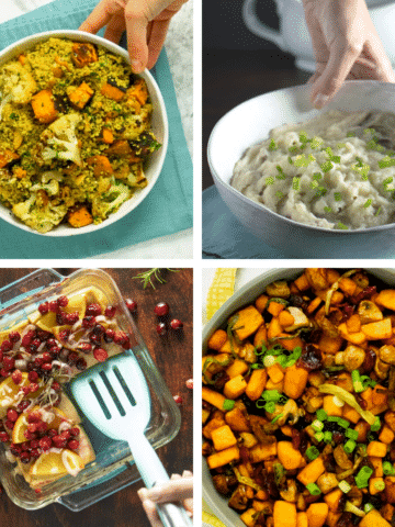 image collage of easy vegan Thanksgiving recipes: grain salad, mashed potatoes, cranberry tofu, air fryer butternut squash