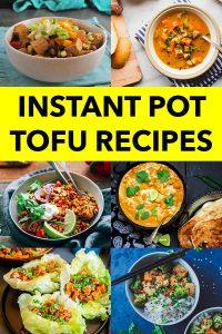 image collage of Instant Pot tofu recipes