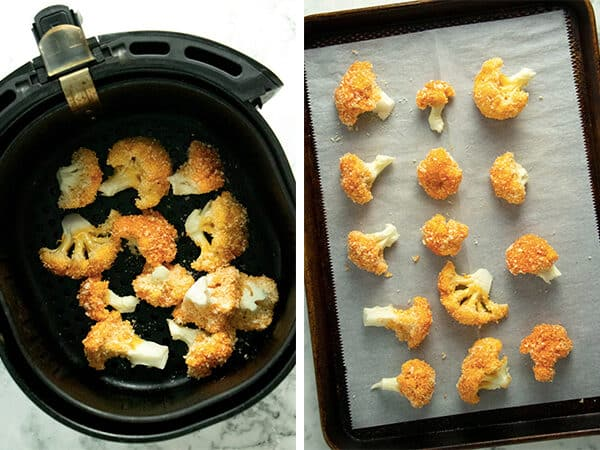 image collage of buffalo cauliflower in an air fryer basket and on a baking sheet