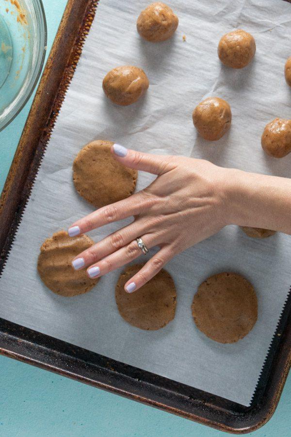 flattening the dough balls