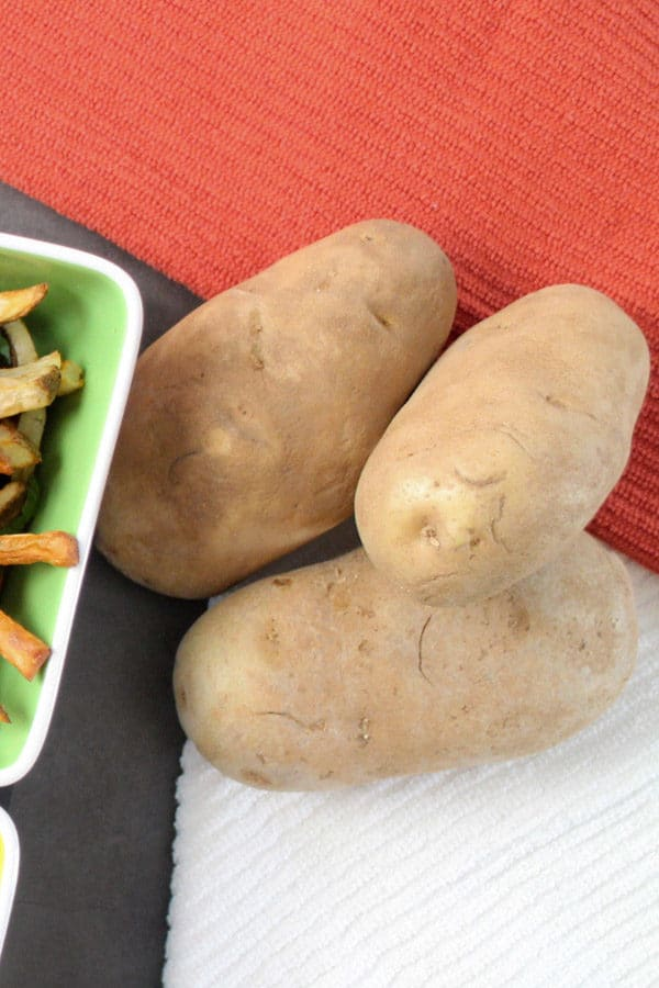 Russet potatoes on a table
