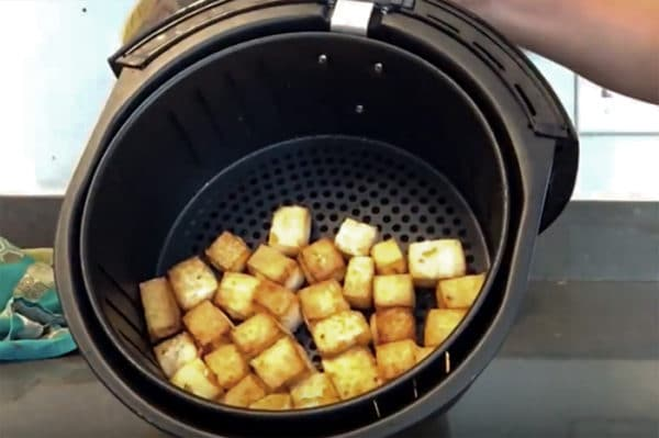 tofu in the air fryer basket