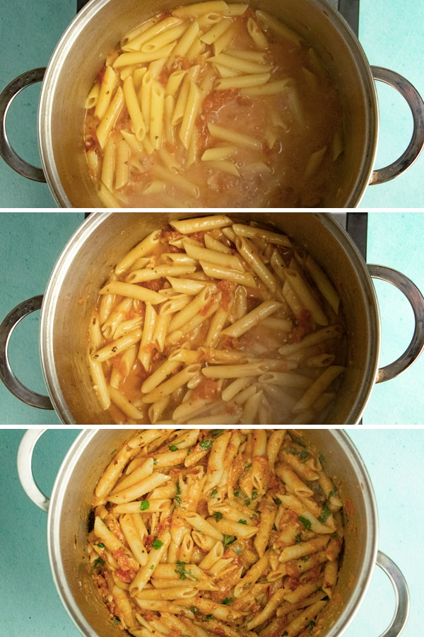 image collage of one-pot penne alla vodka cooking to show the sauce reducing