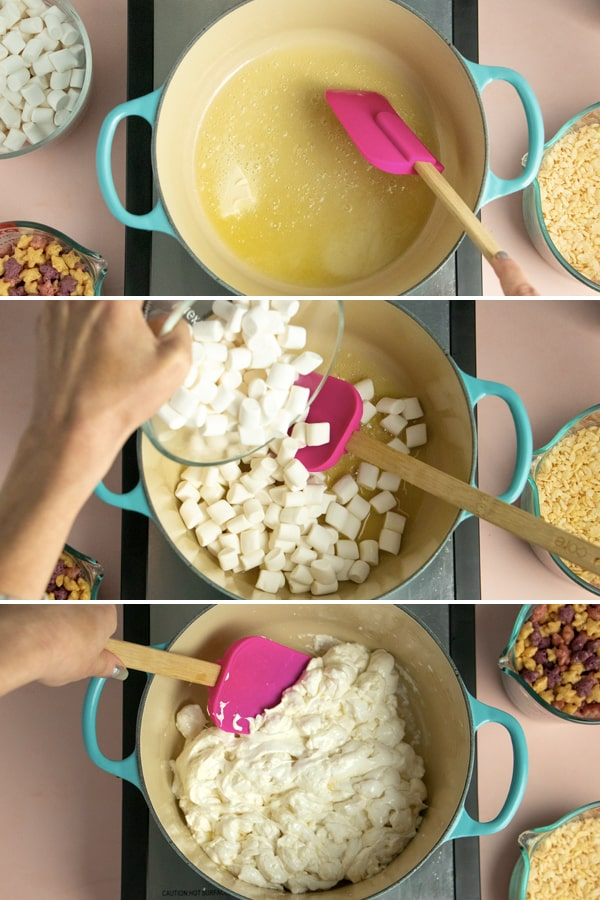 3-image collage of melting vegan butter and marshmallows in a pot