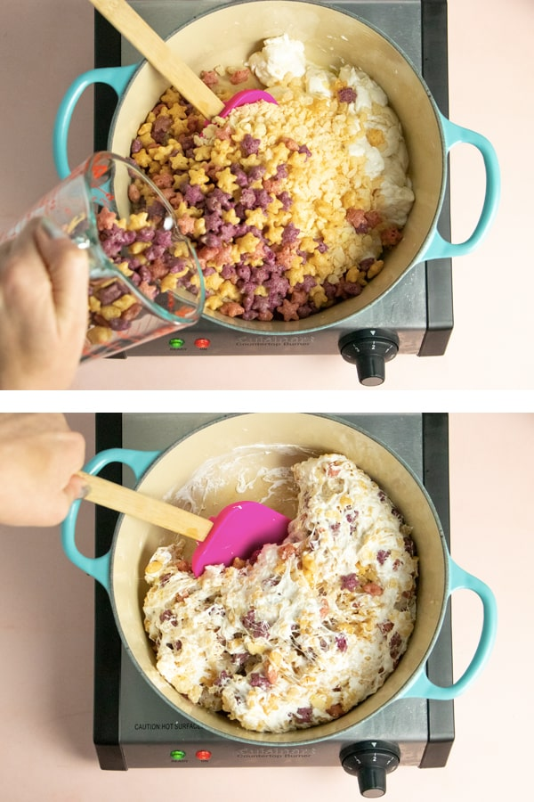 adding star-shaped cereal to a pan of melted marshmallows