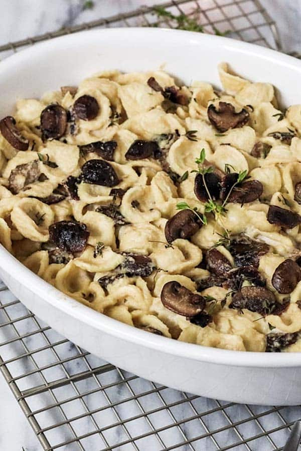 white serving dish of vegan pasta with creamy truffle mushroom sauce and lots of mushrooms on top