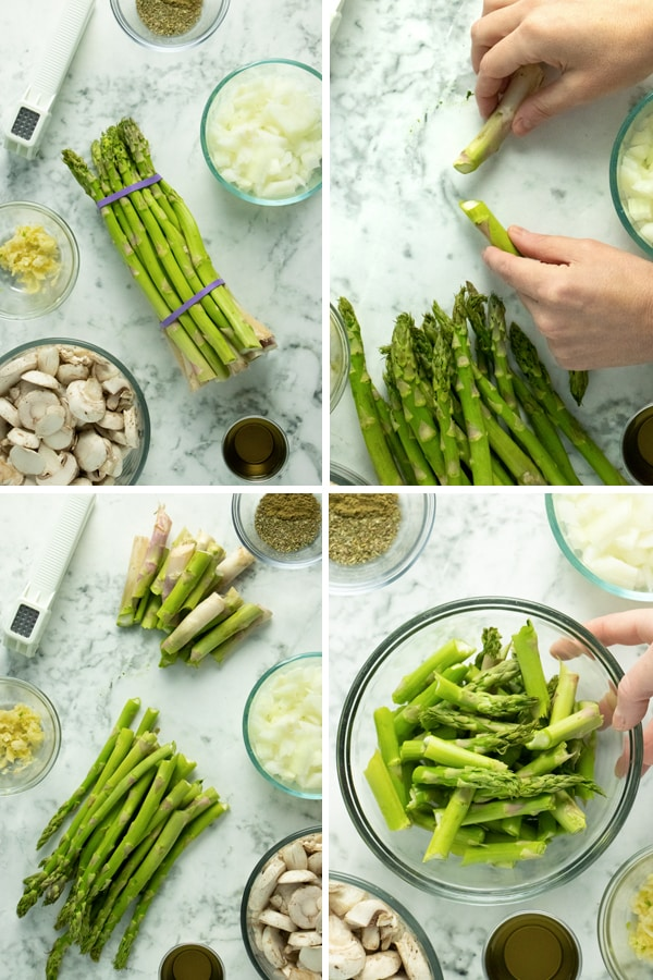 image collage of vegetable saute ingredients on a table and preparing the asparagus to saute