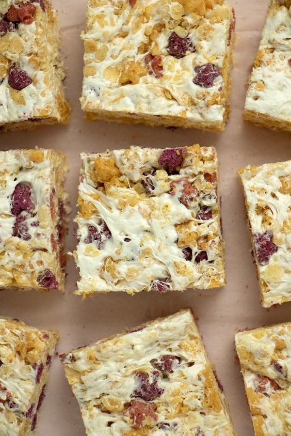overhead photo of vegan rice crispy treats on a pin tabletop
