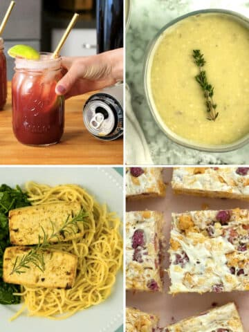 image collage: pomegranate shandy, potato leek soup, herb tofu and pasta, and vegan rice crispy treats