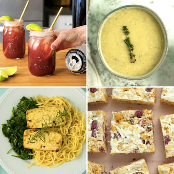 image collage of the vegan Valentine's Day menu: a cocktail, soup, entree, and dessert