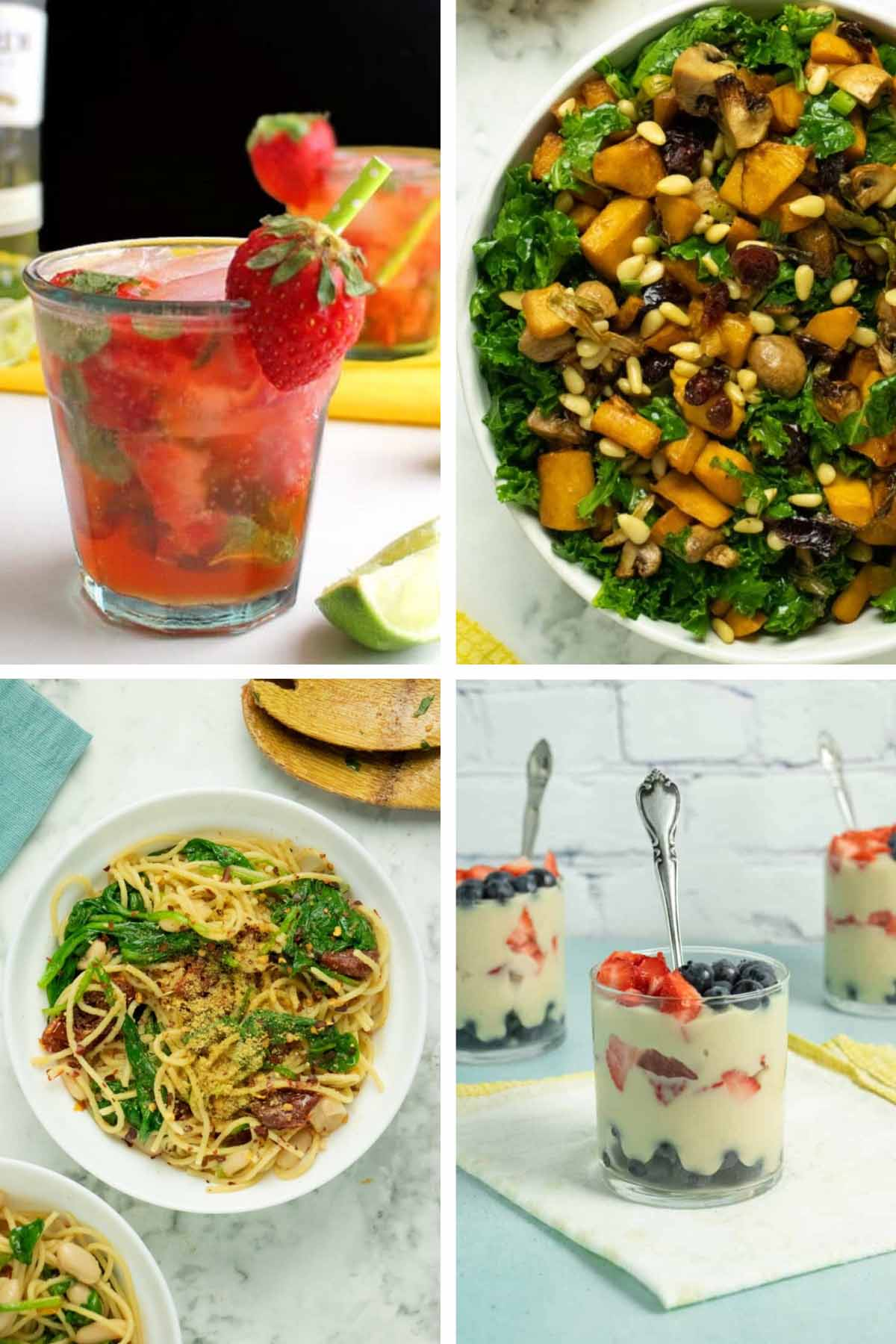 image collage of a 4-course vegan Valentine's Day menu: cocktail, salad, pasta, dessert