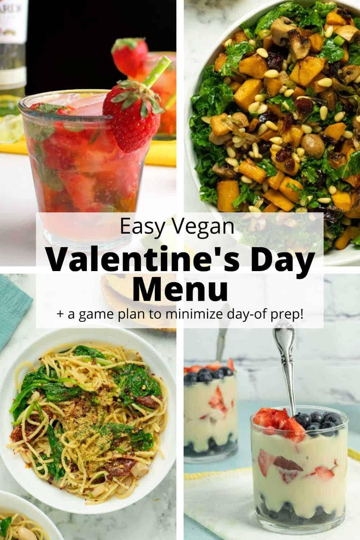 image collage of a 4-course vegan Valentine's Day menu: cocktail, salad, pasta, dessert. Text overlay