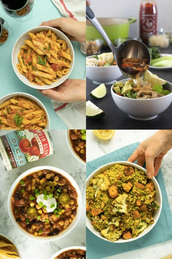 image collage of 30-minute vegan meals: pasta, soup, chili, and a grain salad