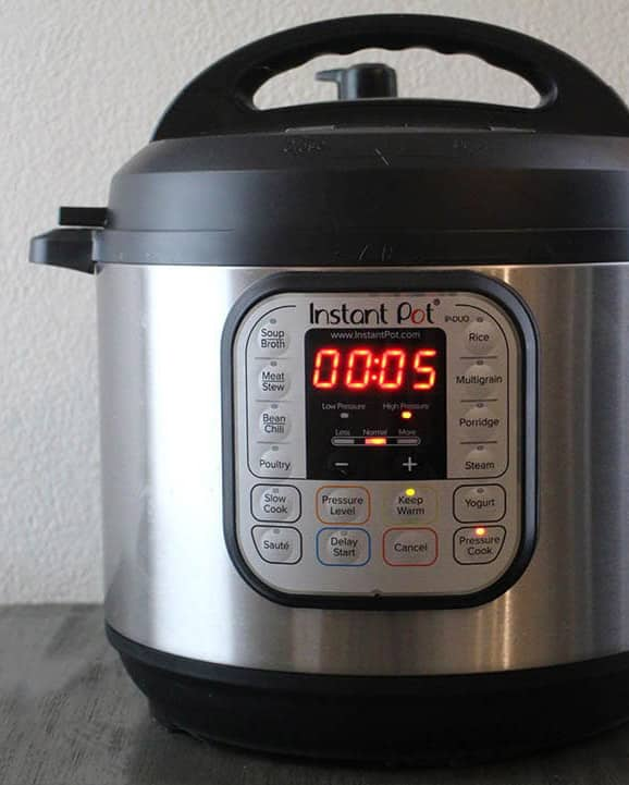 Instant Pot set to 5 minutes at high pressure