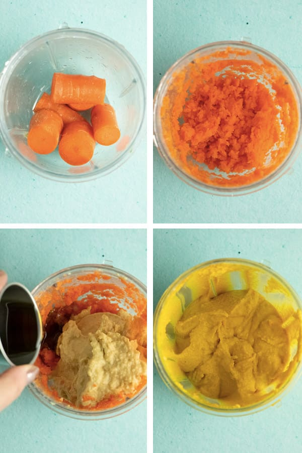 image collage showing hummus and carrot in the blender throughout the blending process