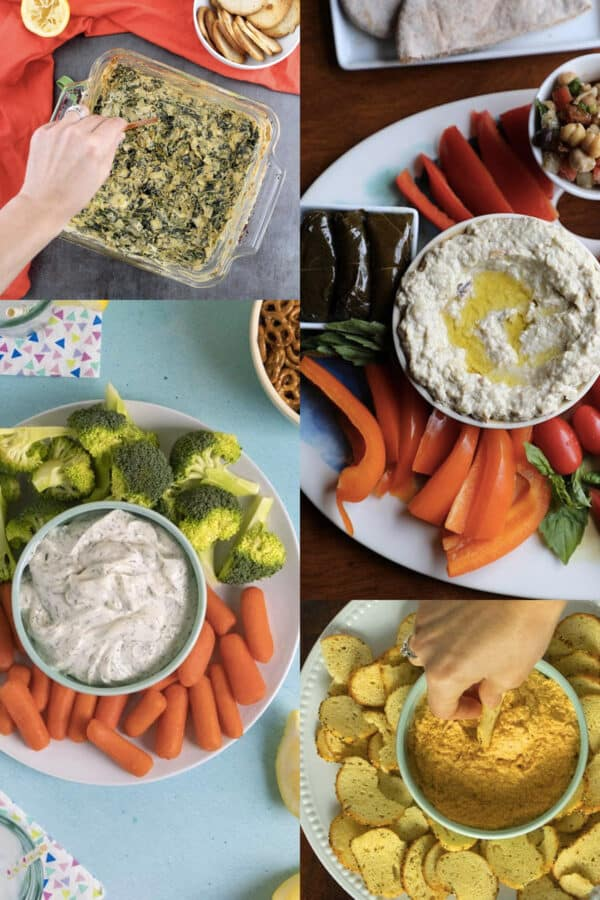 image collage of easy vegan dips: spinach artichoke, hummus, ranch, and almond dips