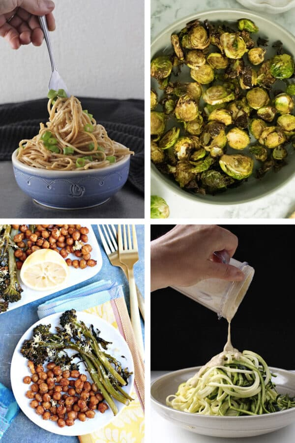 image collage of simple vegan recipes with 5 ingredients or less: sesame noodles, crispy Brussels sprouts, broccolini and chickpeas, salt and pepper pasta