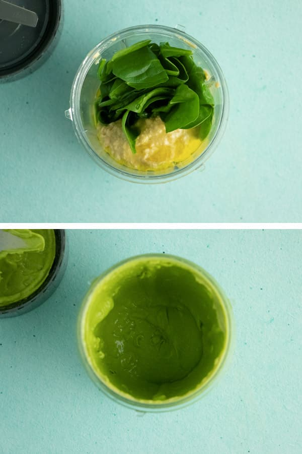 image collage showing hummus, spinach, and basil in the blender before and after blending