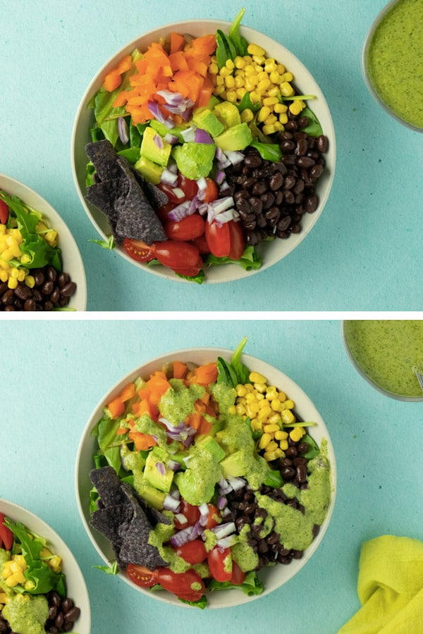 image collage of taco salad before and after adding the dressing