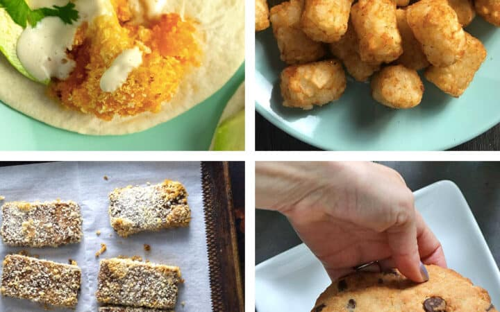 image collage: cauliflower taco, tater tots, crunchy tofu, and a cookie