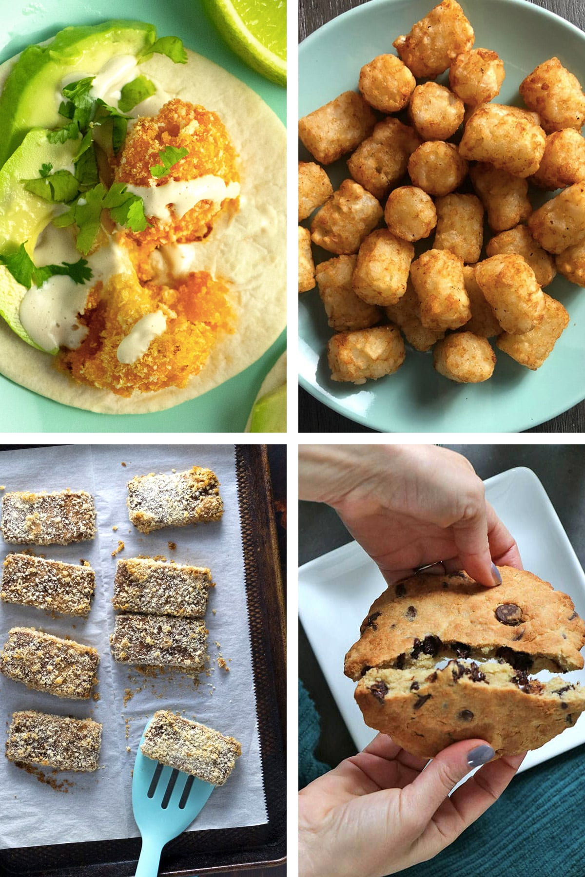 image collage of vegan air fryer recipes: cauliflower tacos, tater tots, crunchy tofu, chocolate chip cookie
