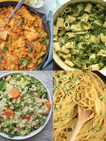 image collage of different pasta dishes